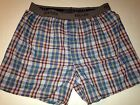 HANES ORANGE/BLUE PLAID BOXER SHORTS SIZE L,XL BOXERS OPEN FLY BANDED WAIST
