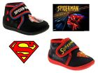 KIDS BOYS SUPERMAN SPIDERMAN SLIPPERS VELCRO SHOES SLIPPER BOOTS SIZE UK 4 - 10