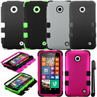 For Nokia Lumia 635 Impact TUFF HYBRID Rubber HARD Case SILICONE Cover + Pen