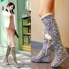 Fashion Women's Wedge Heel Fur Leopard Knee High Sexy Winter Boots Round Retro