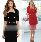 Business Women Solid color Long Sleeve Slim Cocktail Bodycon Party Pencil Dress