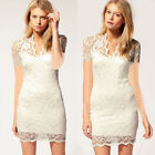 New Lady Sexy Short Sleeve Evening Party Cocktail Ball Lace Mini Dress Clubwear