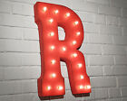 """LETTER """"R"""" Rustic Industrial Metal Vintage Marquee Sign Light - 12 COLOR OPTIONS"""