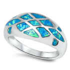 925 Sterling Silver Checker Inlay Blue Lab Opal Promise Wide Band Ring Size 3-11