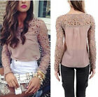Vogue Women sexy Slim Long-sleeved  Lace Crochet Embroidery T-shirt Tops Blouse