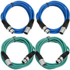 4 Pack of XLR Patch Cables 6 Foot Extension Cords Jumper 3 Pin - Various Colors