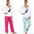 Ladies Scotty Dog Pyjama Set Pjs Jersey Cotton Top With Cosy Flannel Bottoms