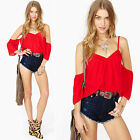 Red Off The Shoulder Ruffled Low Back Peasant Short Sleeve Blouse Crop Top NWT