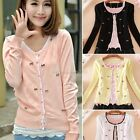 Korean Women's Sweet Mini Bowknot Cardigan Sweater Coat Outwear 4 Colors B20E