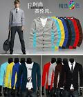 Korean Men's V-neck Slim Fit Solid Cardigan Sweater Long Sleeve Casual Coats