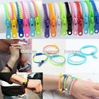 2pc Acrylic Chic Punk Colorful Hip Hop Zip Zipper Bracelet Bangle Anklet Unisex