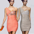 Women's Asymetric Cocktail Party Short Mini Bodycon Beaded Sexy Clubbing Dress