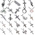 Vintage Mens Women's Fashion Silver Jewelry Cross Skeleton Charm Long Necklaces