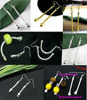 2Pcs Silver/Golden Dangling Snake Chain Earring Fit European Charms Bead Jf372