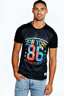 Boohoo DD1 Mens Tie Dye Effect Nyc Graphic T Shirt Tee Top Short Sleeve Crew Nec
