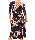 Just Blue - New Teal or Plum Floral Print Wrap Dress Dress - 3/4 Length Sleeves