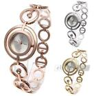 Women Quartz Wrist Watch Stainless Steel Rhinestone Band Simple Round Dial