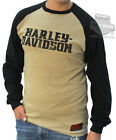 Harley-Davidson Mens Distressed V-Twin Raglan Khaki Long Sleeve T-Shirt