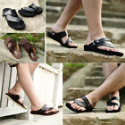 F71 Summer trend beach men cool slippers leather clip toe thong dragged sandals