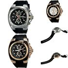 1pc New Mens Quartz Analog Stainless Steel Wrist Watch With Calendar Rubber Band