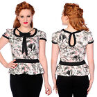 Banned Apparel Bats & Butterflies Black Bow White & Pink Short Sleeved Tunic Top