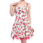 Banned Apparel Red Rose Floral 50's Style Vintage Strappy White Mini Dress