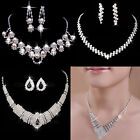 Vogue Wedding Bridal Rhinestone Crystal Necklace Earring Plated Jewelry 5 Style