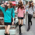 Women Elegant Batwing Long Sleeve Leopard Blouse 3 Colors Casual T-Shirt Tees NB