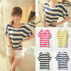 Women's Stripes Short Sleeves Top Shirt Chiffon Blouse T-Shirts Loose A1196 HUK