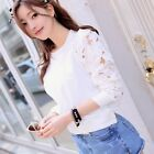 1PC Fashion Women Hollow Long Sleeve Embroidery Lace T Shirt Top Blouse GFY