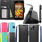 For Kyocera Hydro Icon C6730 Life C6530 Wallet LEATHER POUCH Case Cover + Pen