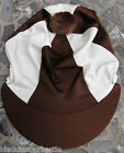 Riding Hat Silk Skull cap Cover BROWN & CREAM With OR w/o Pompom