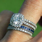 Sterling Silver 6mm 0.85 Carat Clear CZ Engagement Promise 2 in 1 Ring Size 3-11