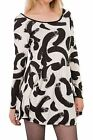 Hidden Fashion Womens Ladies Monochrome Abstract Print Shift Dress