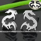 2x Stainless Steel Dragon Mens Women Ear Stud Earring Piecing Punk Gothic Gift