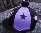 Lycra Riding Hat Silk Skull cap Cover BLACK & LILAC * STARS * With OR w/o Pompom