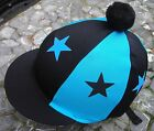 Lycra Hat Silk Skull cap Cover BLACK / TURQUOISE * STARS With OR w/o Pompom