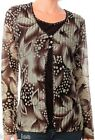 Brown Floral Long Sleeve Layer Look Cardigan Cover Plus Top XL/2XL/3XL