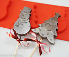 4 cell SNOWMAN CHRISTMAS TREE Chocolate Silicone Cake Lolly Mould Candy Mold