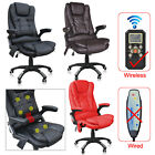 Luxury Leather Reclining Office Chair +Free 6 Pt Massage+Heat -study computer