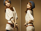 New Women's Casual T-shirt Scoop Neck Top Blouse Beige Sleeves Hip-length Studs
