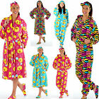 Ladies Fleece Onesie Animal Print Slipper Headband Gift Set OR DRESSING  Gown  B