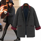 Ladies Winter Parka Woolen Coat Boyfriend Style Oversized Overcoat Outerwear