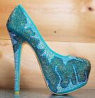 Alba Lola 8 Sea Green Gold Color Sparkle Jeweled Evening Party Shoe Pump 6-10