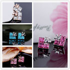 1pair New Lady Girl Lovely Silver,Gold Tone Crown Crystal Stud Earrings jewelry