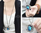 Stylish Light Retro Vintage crystalline Rhinestone Moon Pendant Sweater Necklace
