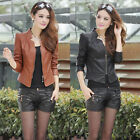 NEW Womens BIKER JACKET Crop FAUX LEATHER Ladies ZIP Coat slim cool