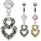 Surgical Steel CZ Paved Double Hearts Dangle Belly Curved Barbell Navel Ring 16G