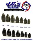 JC's Tungsten Bulk Bullet Flipping Weights -No Insert -Choose Color & Size Pack