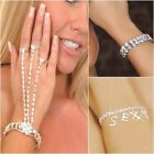 WOMENS SPARKLING DIAMANTE JEWELLERY BRACELETS SLAVE CHAINS VARIOUS DESIGNS 0/S